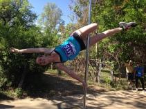 Alaina runs and poles